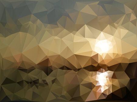 sea landscape: Mountains and sea landscape, triangle design illustration