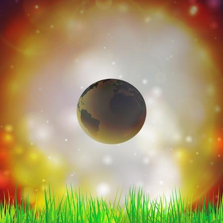 doomsday: Abstract background of globe with grass vector illustration  View at our home from other side  Illustration