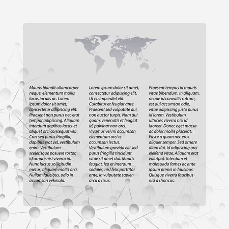 Gray Abstract background of molecule structure, template with world map icon  vector illustration  Vector