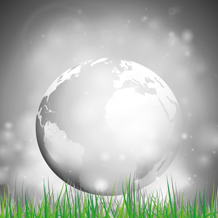 gov: Abstract background of globe with grass vector illustration  View at our home from other side  Illustration