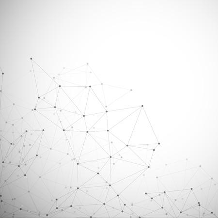 通信、ベクトル図の分子構造、灰色の背景