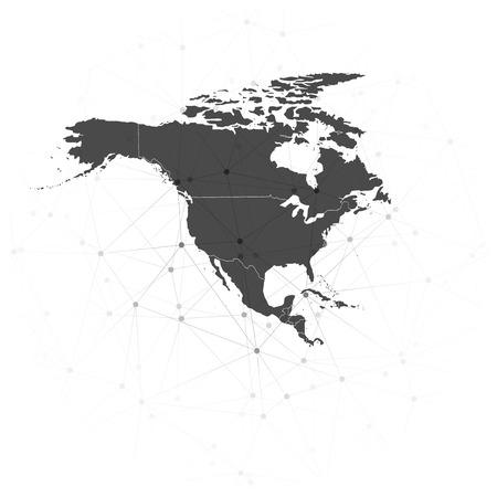 north america map: nord america illustrazione mappa di sfondo vettoriale, sfondo per la comunicazione