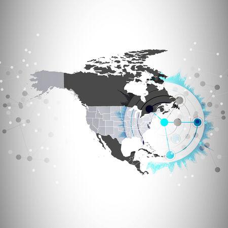 north america map: nord america mappa illustrazione vettoriale sfondo, sfondo per la comunicazione. Vettoriali