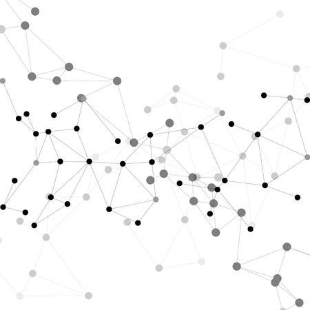 Molecule structuur, grijze achtergrond voor communicatie, vector afbeelding. Stock Illustratie