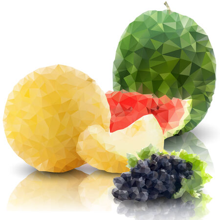 a sprig: sprig of grapes, melon and watermelon isolated, triangle design vector illustration.