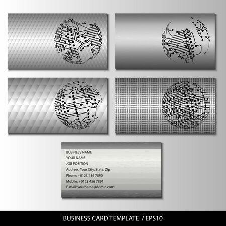 Set of metallic themed business card templates vector. Vector