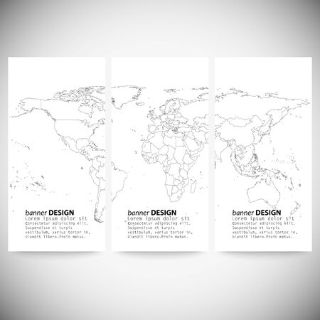 Set of vertical banners. Gray Political World Map Vector. Vector