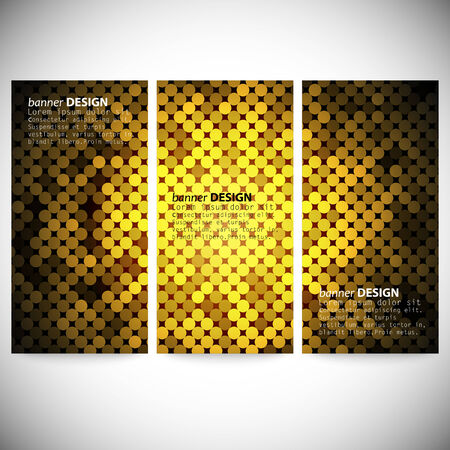 Set of vertical banners. Abstract golden dots background vector illustration. Vector