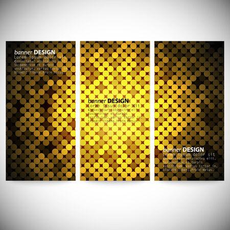 shiny black: Set of vertical banners. Abstract golden dots background vector illustration. Illustration