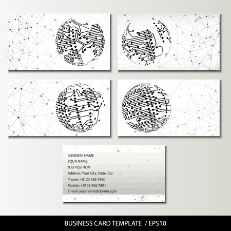 Set of business card templates vector illustration. Vector