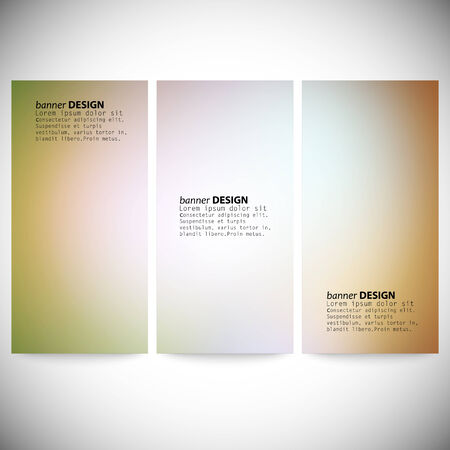 Set of vertical banners. Abstract multicolored defocused lights background vector illustration. Vector