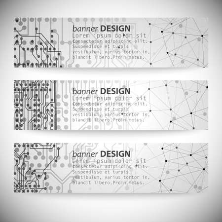 Set of horizontal banners. Molecule structure, gray background for communication Vector
