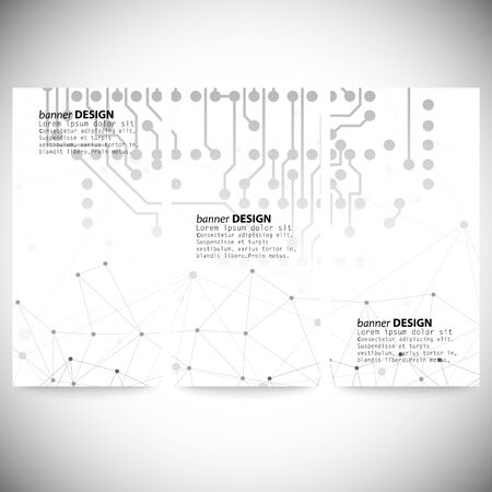 Set of banners. Molecule structure, gray background for communication Vector