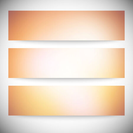 Set of horizontal banners. Abstract multicolored defocused lights background vector illustration. Vector