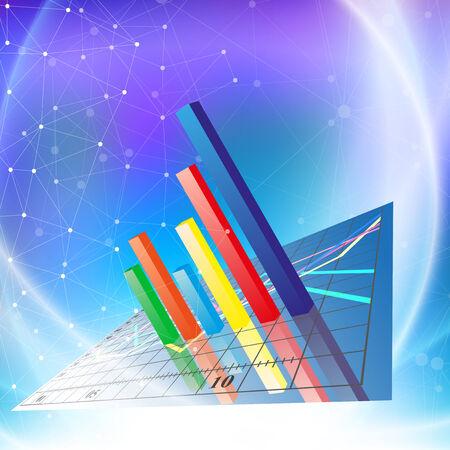 Financial chart. Progressive Bar chart. Abstract vector illustration. Vector
