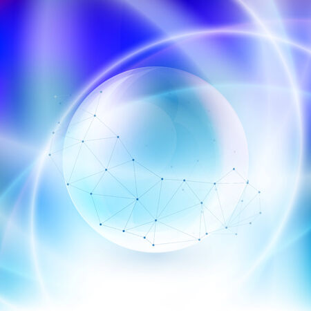 Sphere on blue background in the rays of light vector Vector