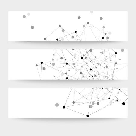 Set of  digital backgrounds for communication, molecule structure vector illustration. 向量圖像