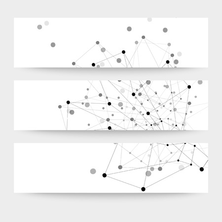 Set of  digital backgrounds for communication, molecule structure vector illustration. Illustration