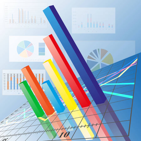 progressive: Financial chart. Progressive Bar chart. Abstract vector illustration.