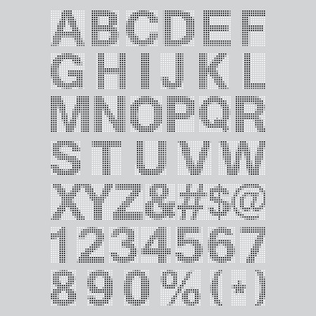 Pixel Font - Alphabets and numerals characters in retro square pixel font. Vector