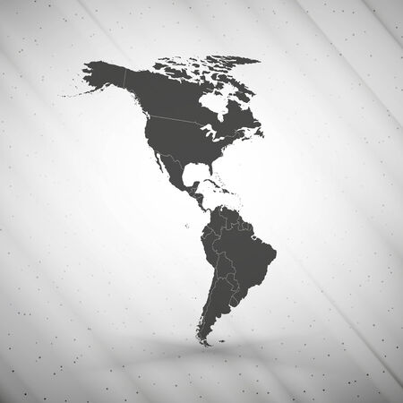 North and South America map on gray background, grunge texture vector illustration.