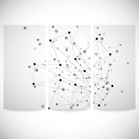 gray backgrounds: Conjunto de fondos grises para la comunicaci�n, la estructura de la mol�cula ilustraci�n vectorial. Vectores