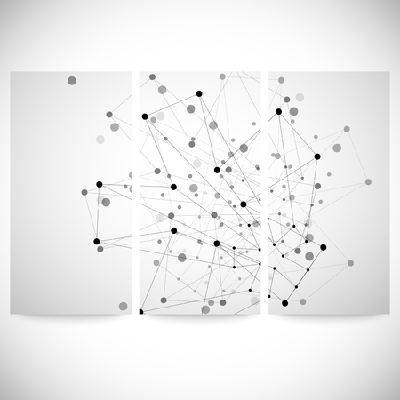 Set of gray backgrounds for communication, molecule structure vector illustration. Vector