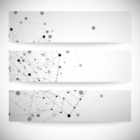 grey backgrounds: Conjunto de fondos grises para la comunicaci�n, la estructura de la mol�cula ilustraci�n vectorial. Vectores