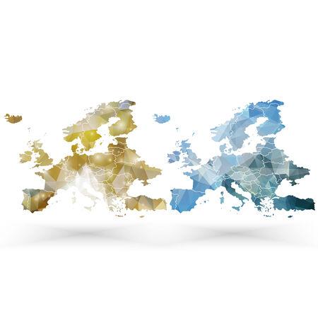 mapa de europa: Europa plantilla de mapa, triángulo ilustración vectorial de diseño.