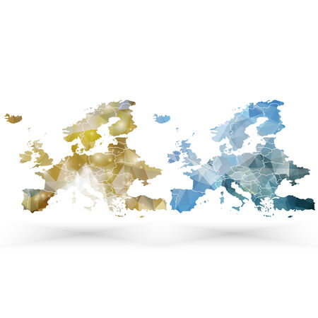 EUROPE MAP: Europe map template, triangle design vector illustration.