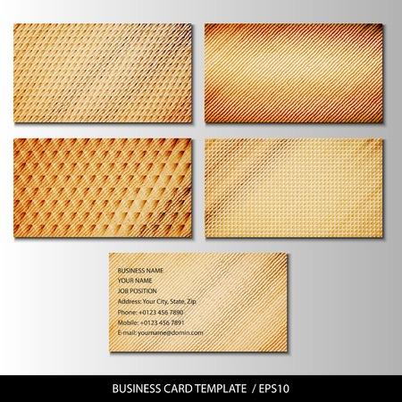 furnier: Set aus Holz Themen Visitenkarten Vektor.