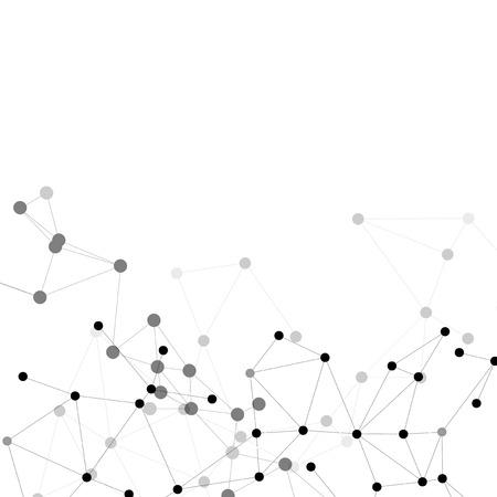 Molecuul structuur, grijze achtergrond voor communicatie, vector illustratie.