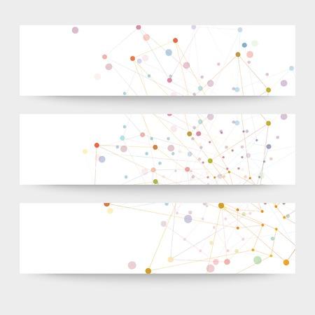 Set van digitale achtergronden voor communicatie, molecule structuur vector illustratie.