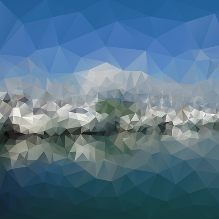 Colored abstract background. Mountains and sea landscape, triangle design vector illustration. Vector