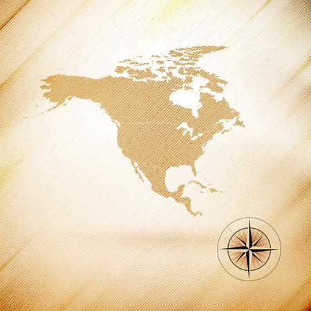 north america map: North america map, wooden design background, vector illustration. Illustration