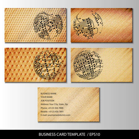 Set of wooden themed business card templates vector. Vector