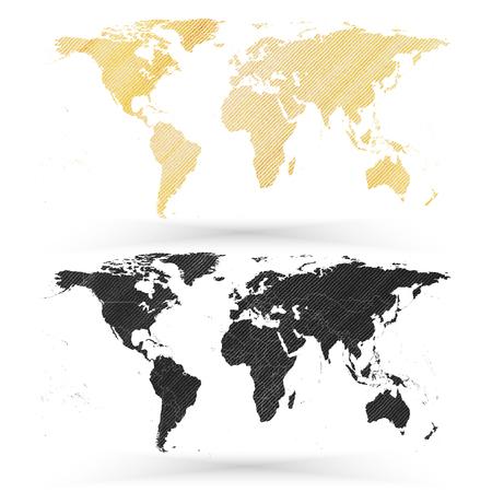 furnier: Weltkarte, Holz-Design Textur, Vektor-Illustration.