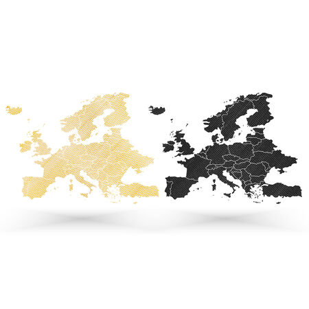 Europe map, wooden design texture, vector illustration. Vector