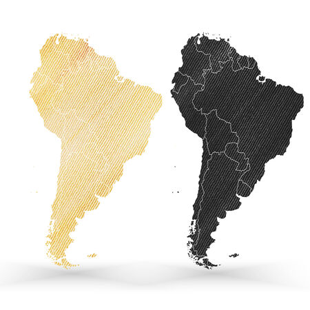 South America map, wooden design texture, vector illustration. Vector