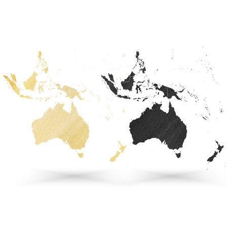 Australia map, wooden design texture, vector illustration. Vector