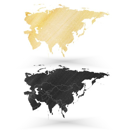 Eurasia map, wooden design texture, vector illustration. Vector