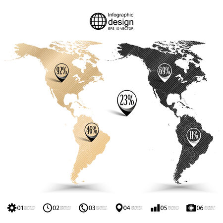 North and South America map, wooden design texture, infographics vector illustration. Vector