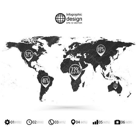 World map, wooden design texture, infographics vector illustration. Vector