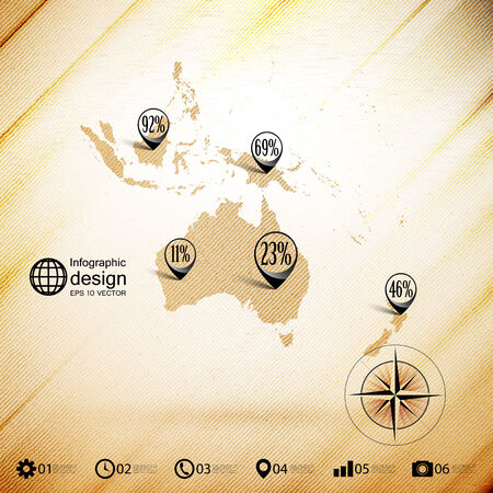 Australia map, wooden design background, infographics vector illustration. Vector