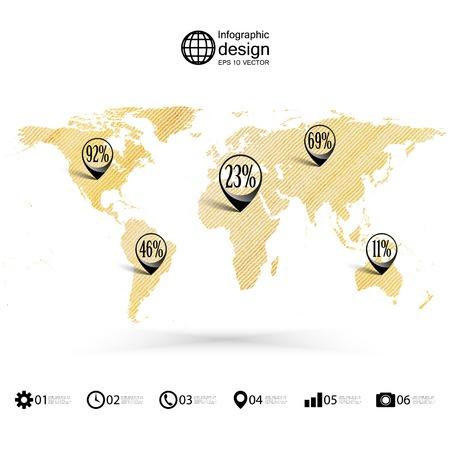 шпон: Карта мира, деревянный дизайн текстура, инфографика векторные иллюстрации.