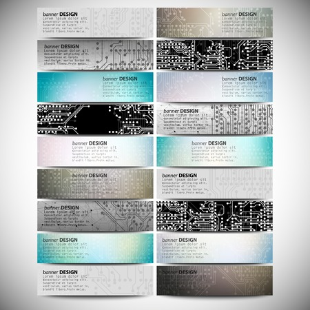 Big banners set, science backgrounds, microchip and electronics circuit backgrounds. Conceptual vector design templates. Modern abstract banner design, business design and website templates. Vector Illustration