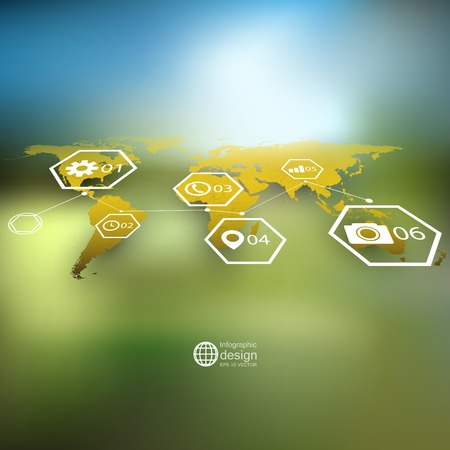 World map in perspective royalty free cliparts vectors and stock yellow world map in perspective blurred infographic vector template for business design vector gumiabroncs Choice Image