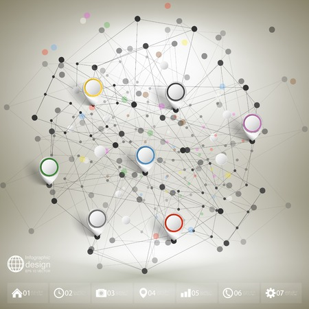 Infographic network with pointer marks for business, template vector. Vector