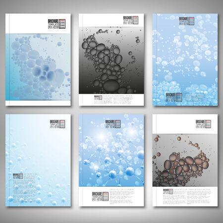 water molecule: Gotas de agua, estructura de la mol�cula. Folleto, volante o el informe de negocio, plantilla vectorial. Vectores