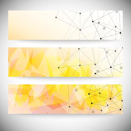 Set of horizontal banners. Orange triangle design background, vector illustration. Vector